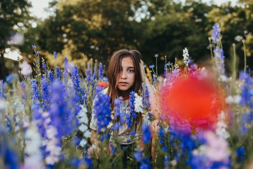 Portrait of older child in blue bonnet field, Daily Fan Favorite on Beyond the Wanderlust