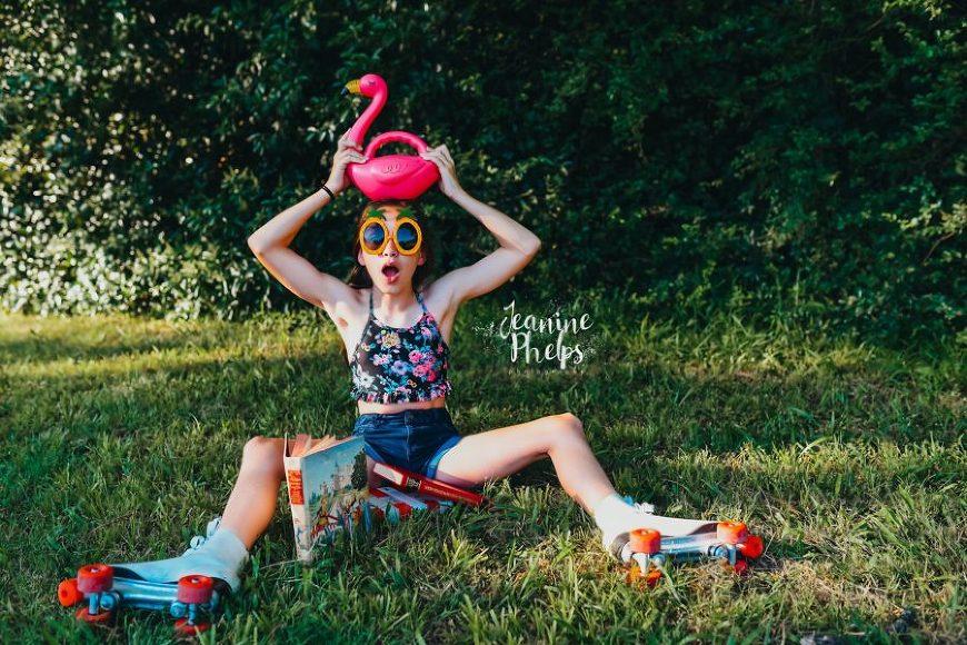 Girl wearing old school roller skates, plastic flamingo, Daily Fan Favorite