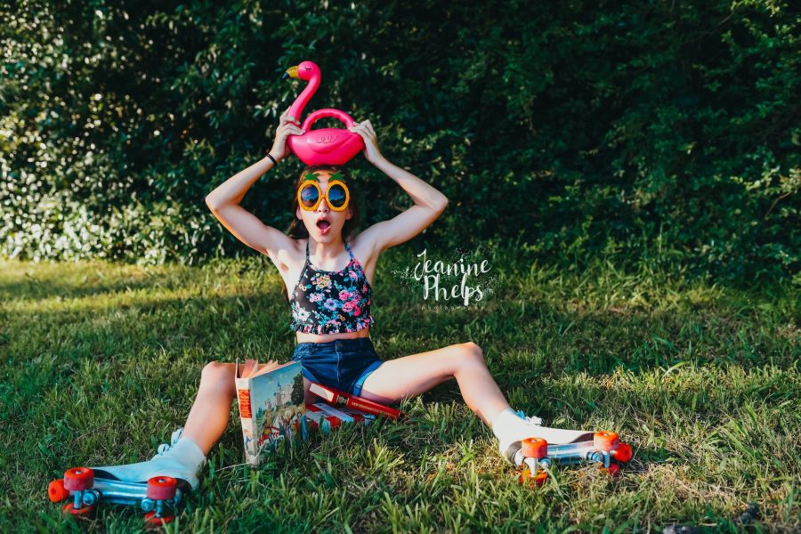Girl wearing old school roller skates, plastic flamingo, Daily Fan Favorite