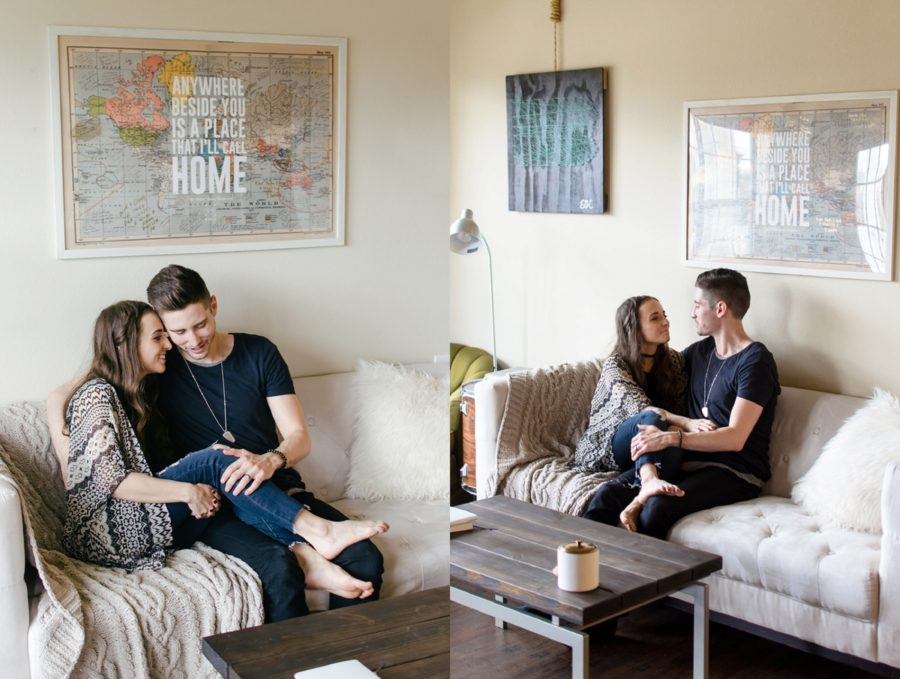 Couple sitting on the couch together, World map art, Nashville Lifestyle Couples Session