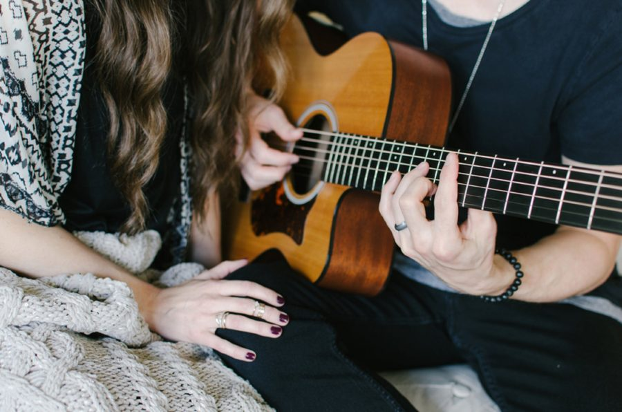 Close up of hands as man plays guitar, Nashville Lifestyle Couples Session
