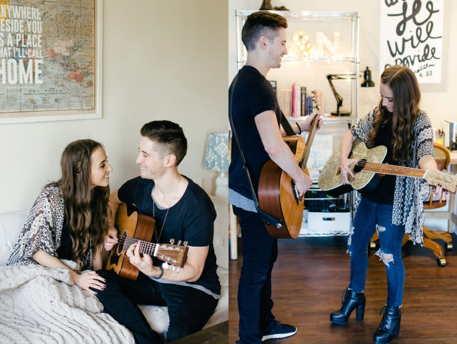Couple playing guitar together in their home, Nashville Lifestyle Couples Session