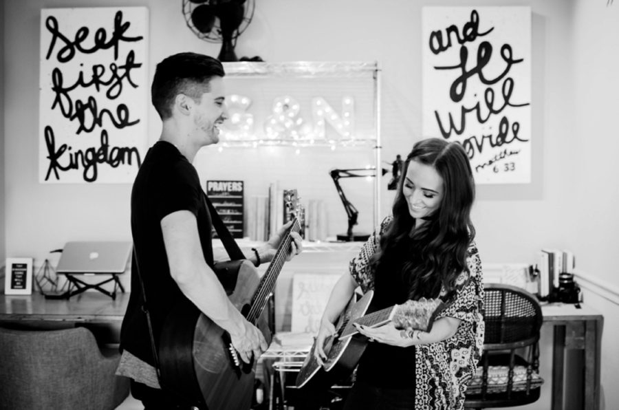 Man and woman playing guitars in their home, Nashville Lifestyle Couples Session