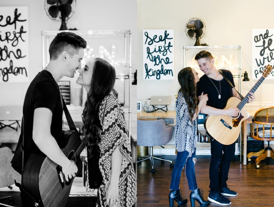 Couple touching noses, man playing guitar in his house, Nashville Lifestyle Couples Session