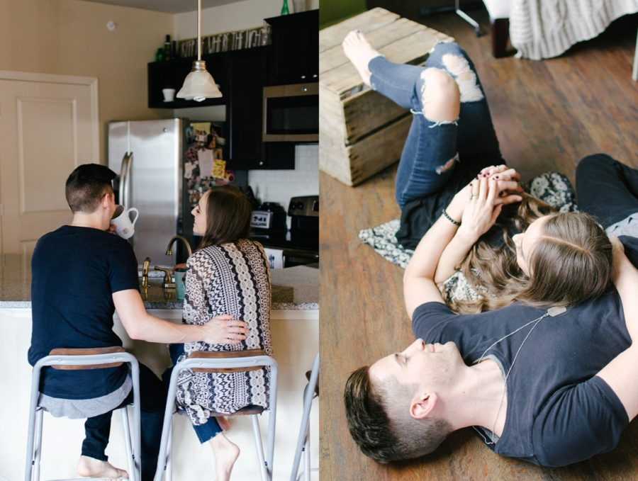 Lifestyle photos of husband and wife in home, Nashville Lifestyle Couples Session