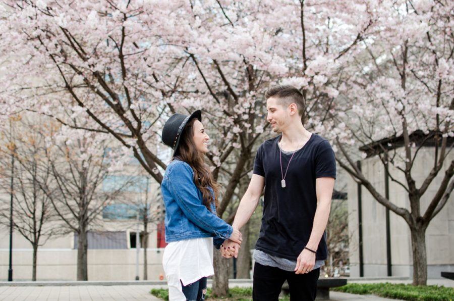 Man and woman under blossoming trees, Nashville Lifestyle Couples Session