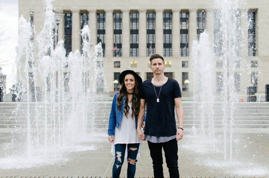 Man and woman in front of fountains, Nashville Lifestyle Couples Session