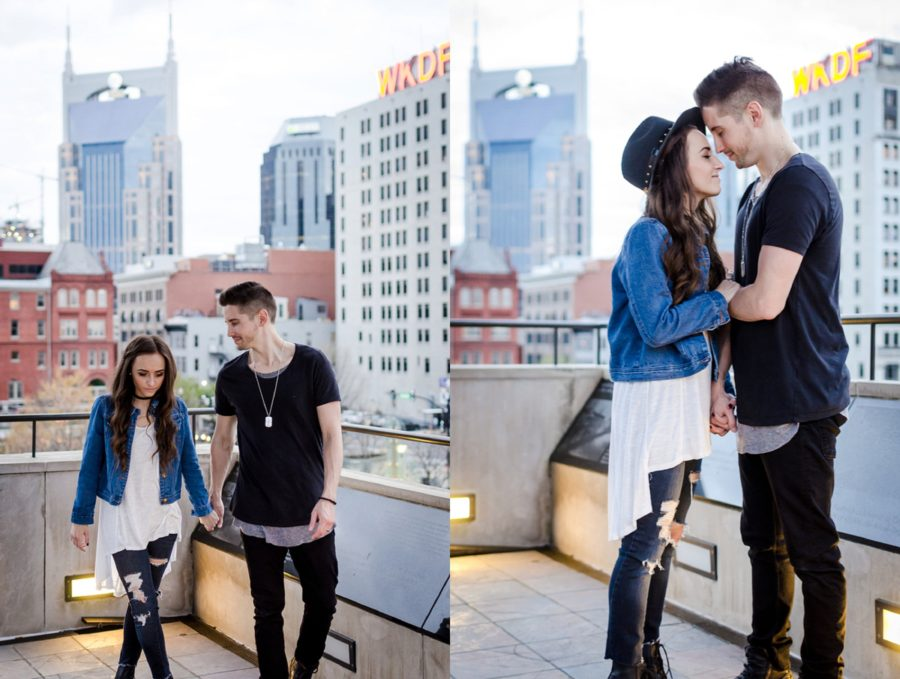 Couple on top of parking garage overlooking big city, Downtown Nashville buildings, Nashville Lifestyle Couples Session