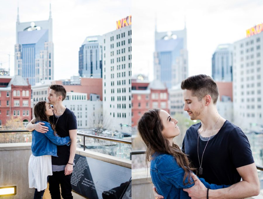 Photo of couple with downtown Nashville in background, Nashville Lifestyle Couples Session