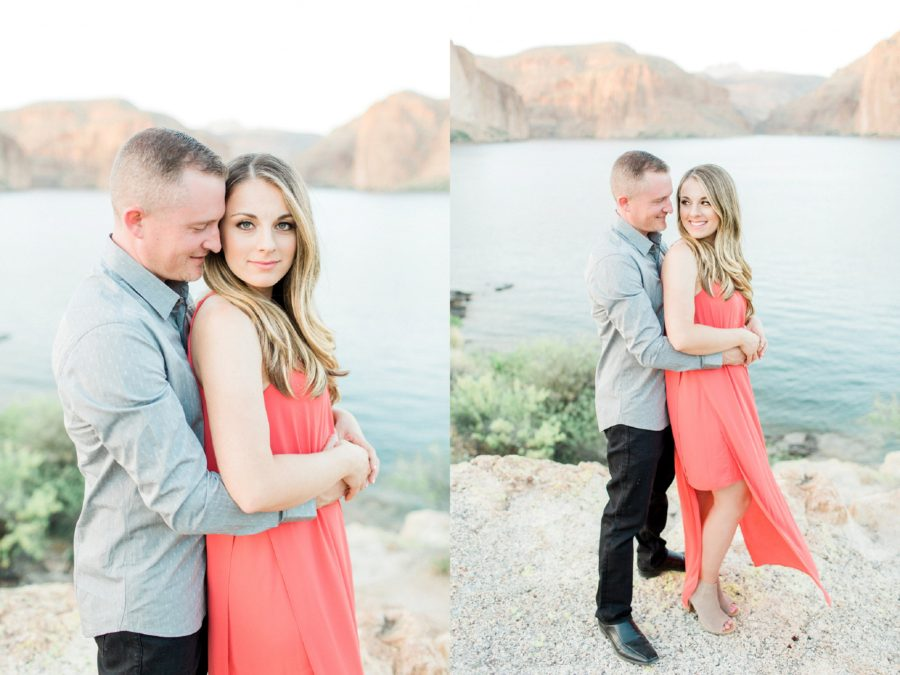 Couple posing for engagement photos, inspiration for what to wear for engagement pictures, Canyon Lake Engagement Pictures in Arizona