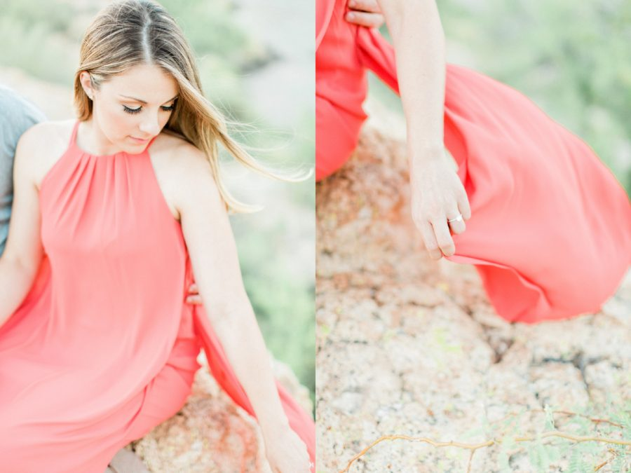 Flowy coral dress, Woman holding hem of dress, Canyon Lake Engagement Pictures in Arizona
