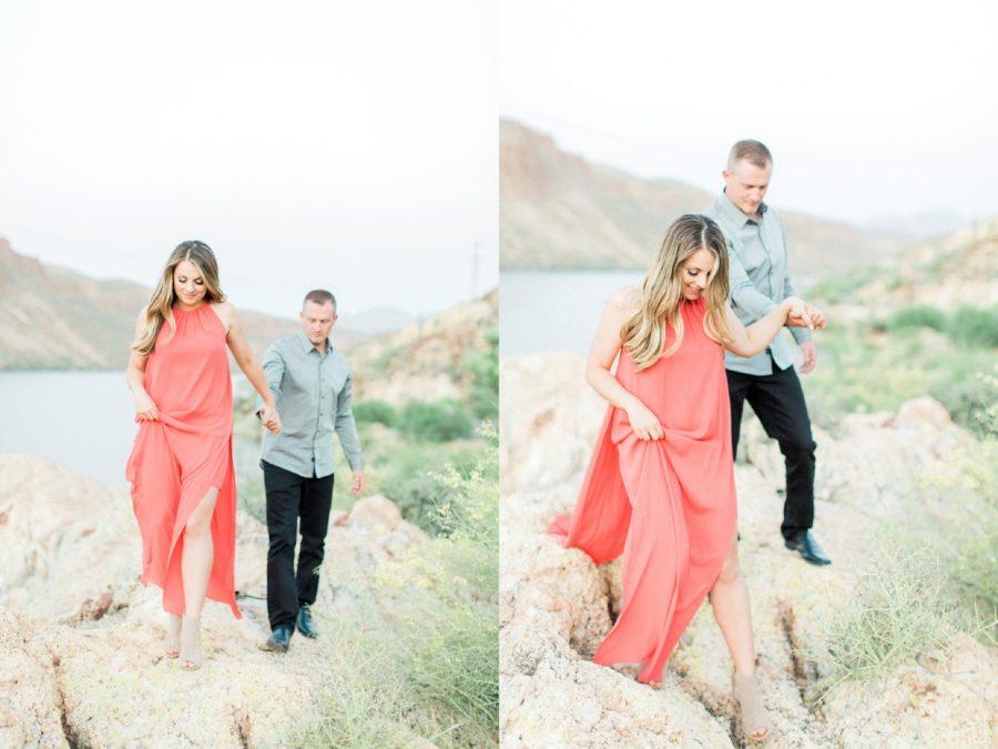 Man and woman walking through Arizona landscape, Canyon Lake Engagement Pictures in Arizona