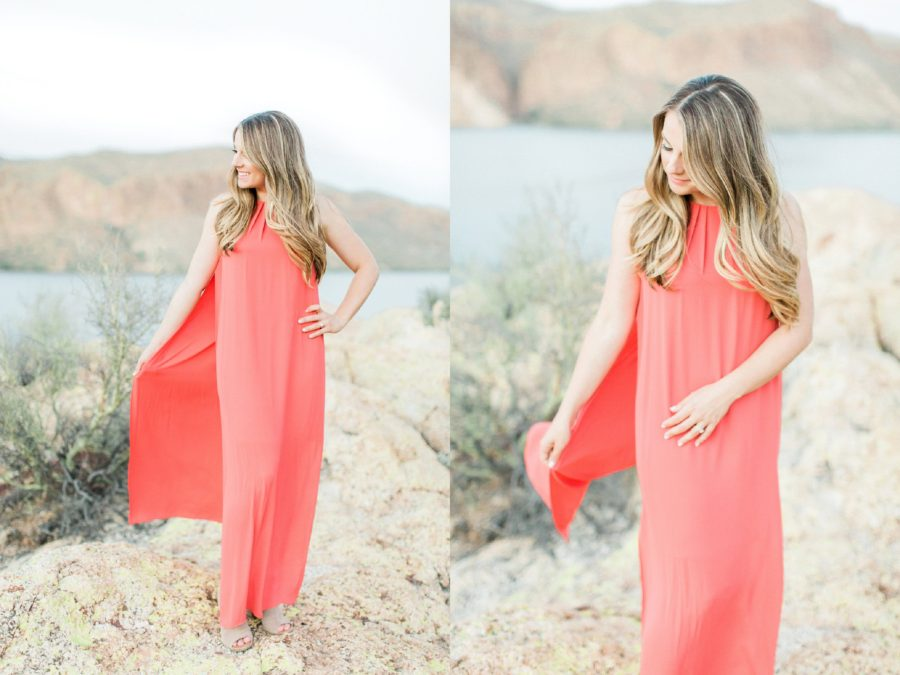 Portraits of woman in long coral dress, Canyon Lake Engagement Pictures in Arizona