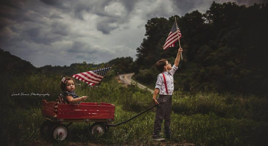 Patriotic photo of kids holding flags, Beyond the Wanderlust Daily Fan Favorites