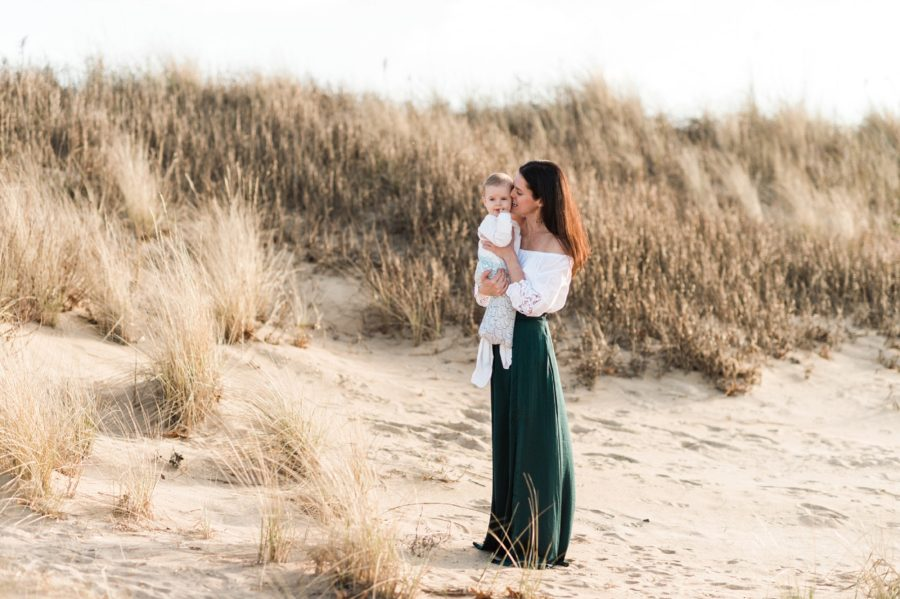 Mom and baby on sand dune, Virginia Beach Mom and Baby 6 Month Pictures