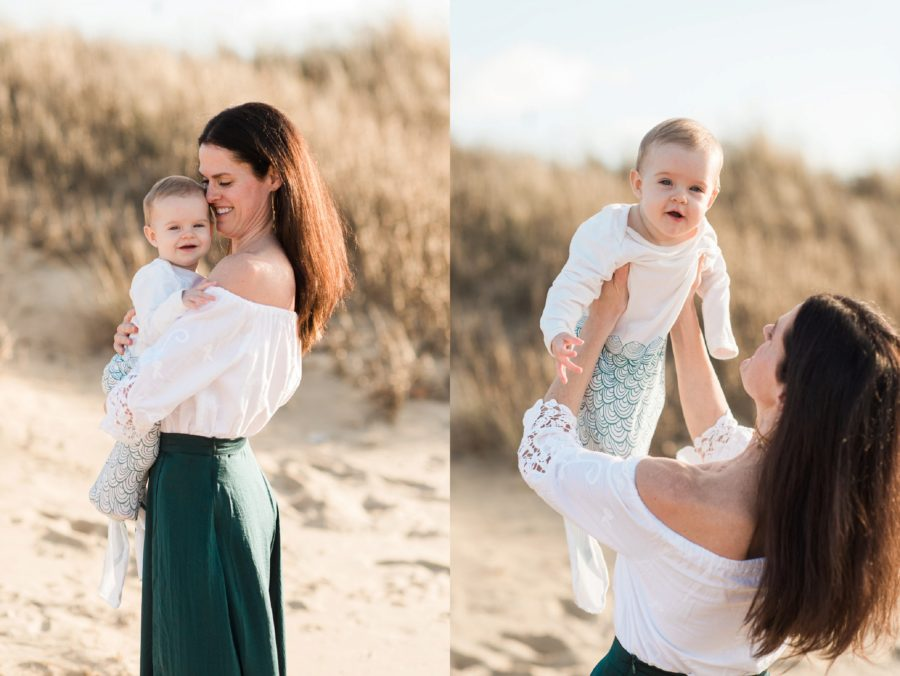 Portraits of mom and baby at beach, Mermaid tail onsie, Virginia Beach Mom and Baby 6 Month Pictures