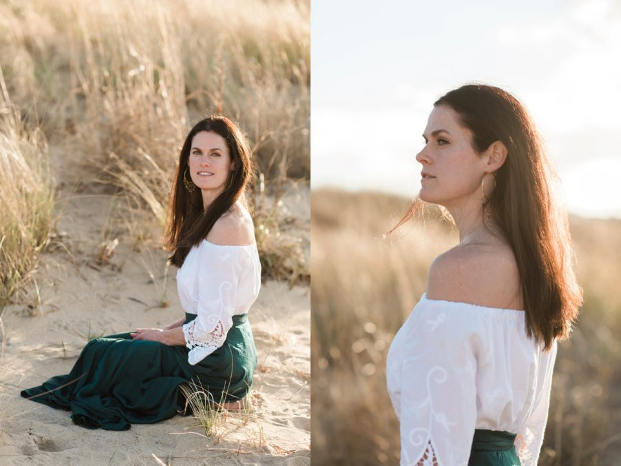 Portrait of woman at the beach, off the shoulder white blouse, Virginia Beach Mom and Baby 6 Month Pictures
