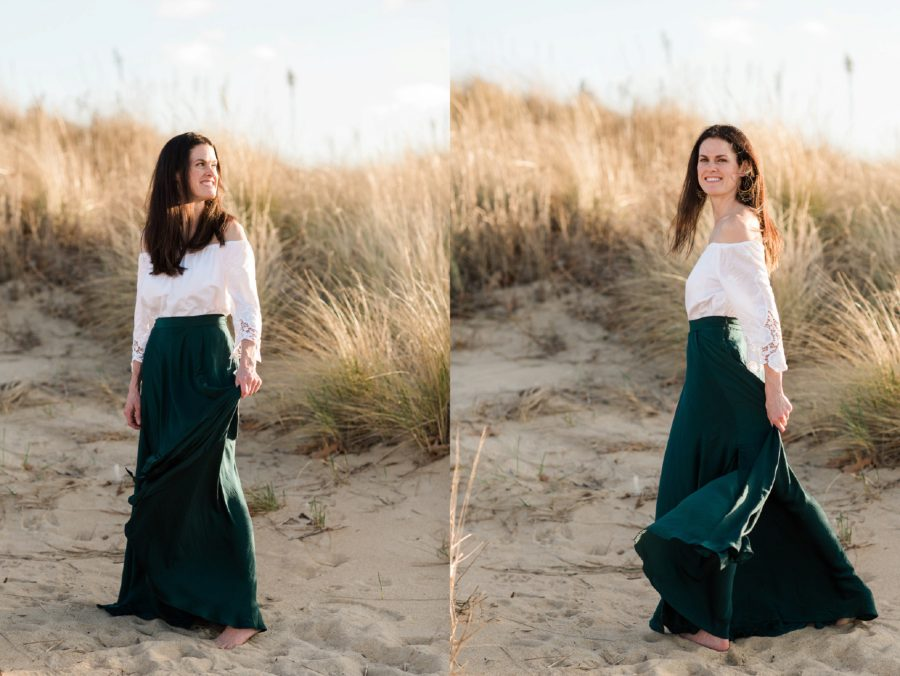 Beach portrait of woman, Emerald skirt, White off the shoulder top, Virginia Beach Mom and Baby 6 Month Pictures