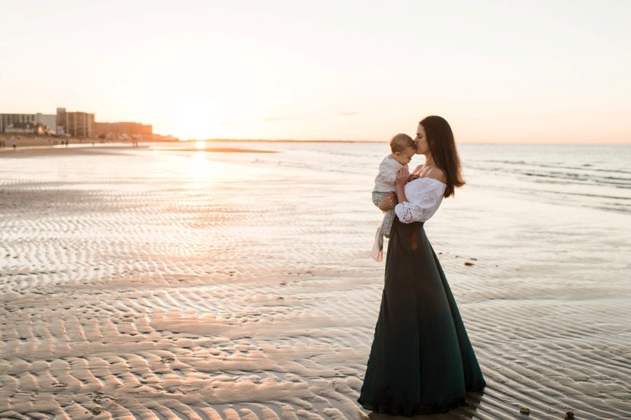 Mom holding baby at beach during sunset, Virginia Beach Mom and Baby 6 Month Pictures