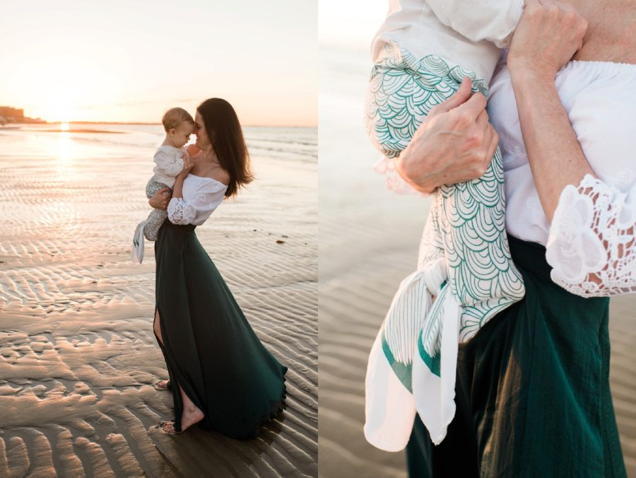 Sunset pictures at beach, Mermaid onsie, Mermaid baby outfit, Virginia Beach Mom and Baby 6 Month Pictures