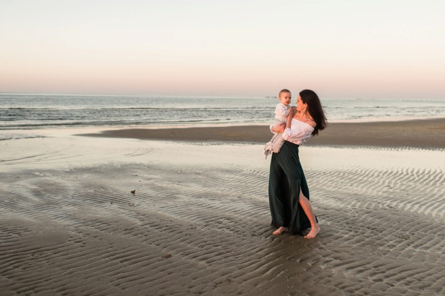 Mommy and me sunset portrait, Virginia Beach Mom and Baby 6 Month Pictures