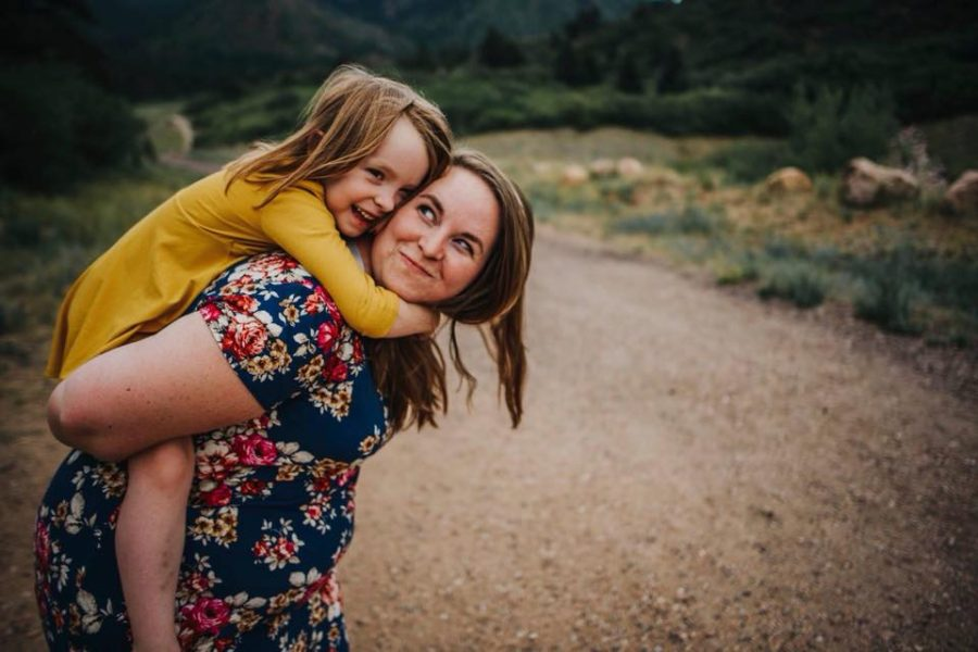 Girl smiling on mom