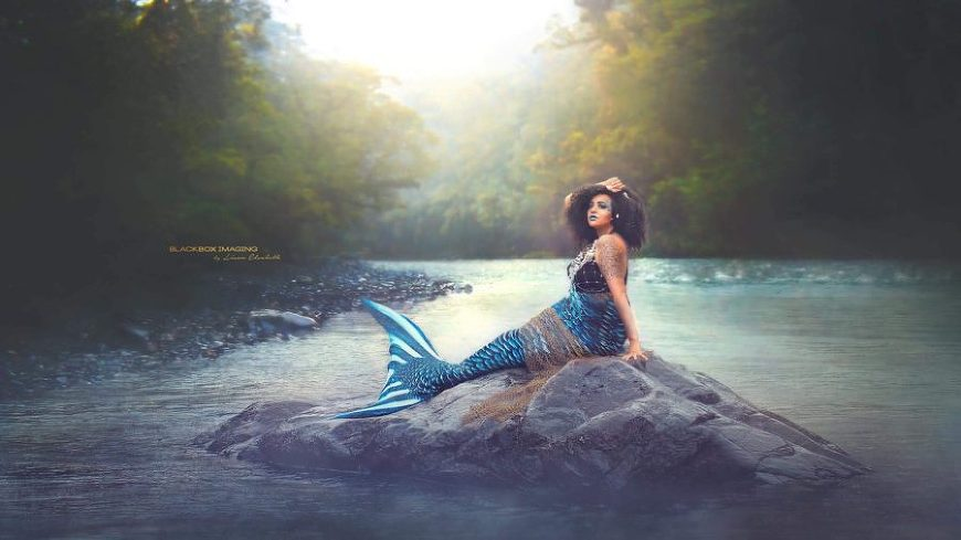 Mermaid on rock in middle of water, Beyond the Wanderlust Daily Fan Favorite