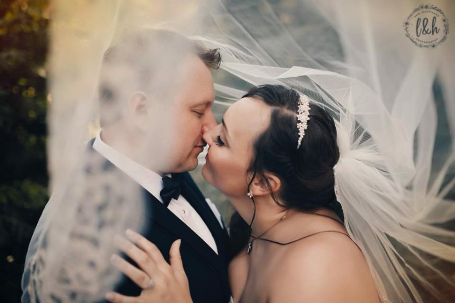 Bride and groom almost kissing from within the veil, Beyond the Wanderlust Daily Fan Favorite