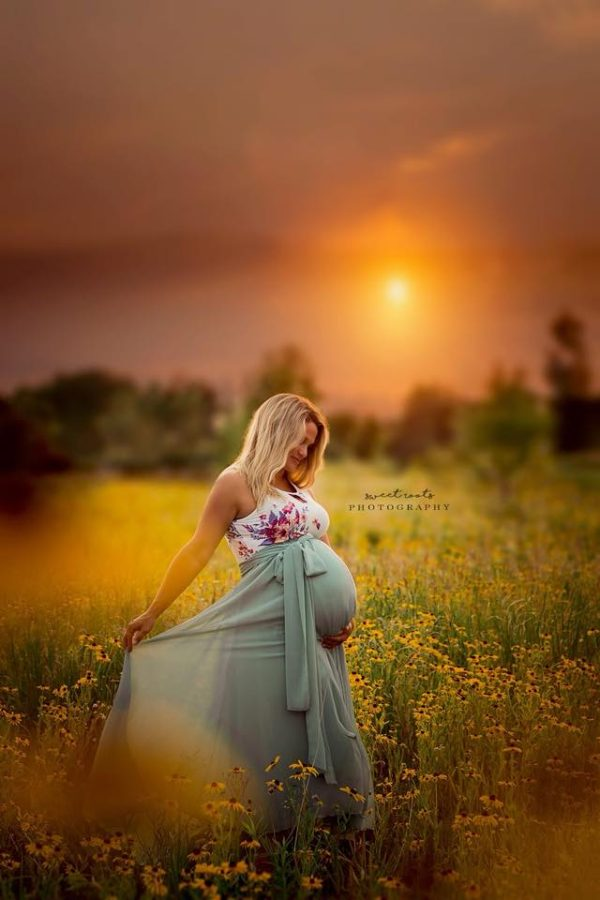 Sunset maternity photo in flower field, Sweet Roots Photography Daily Fan Favorite