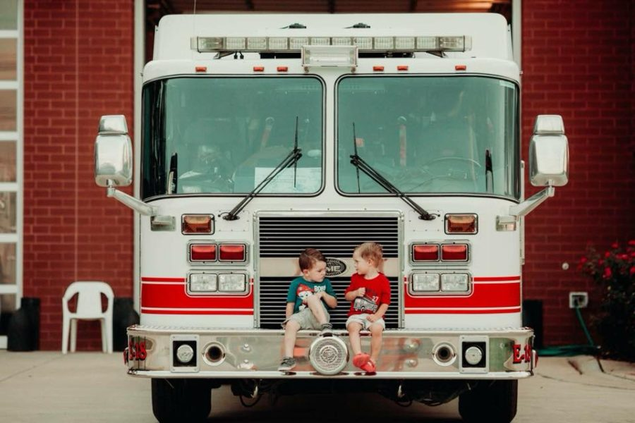 Kids sitting on the front of fire truck, HollynHollis Photography Daily Fan Favorite