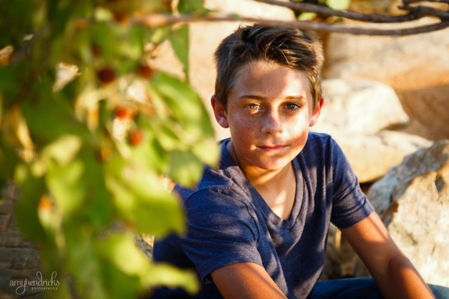 Boy in dappled light looking in to camera, Amy Hendricks Photography Daily Fan Favorite