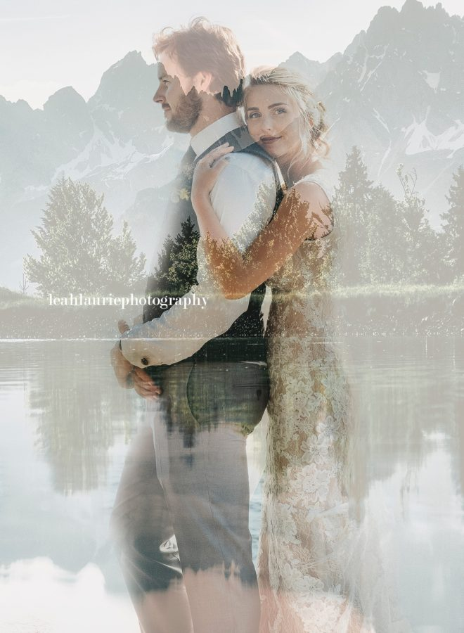 Double exposure of bride and groom and mountains and lake, Beyond the Wanderlust Daily Fan Favorite