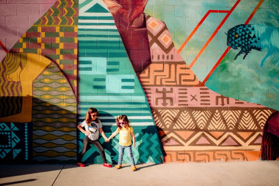 siblings, downtown wall murals, urban kid pictures