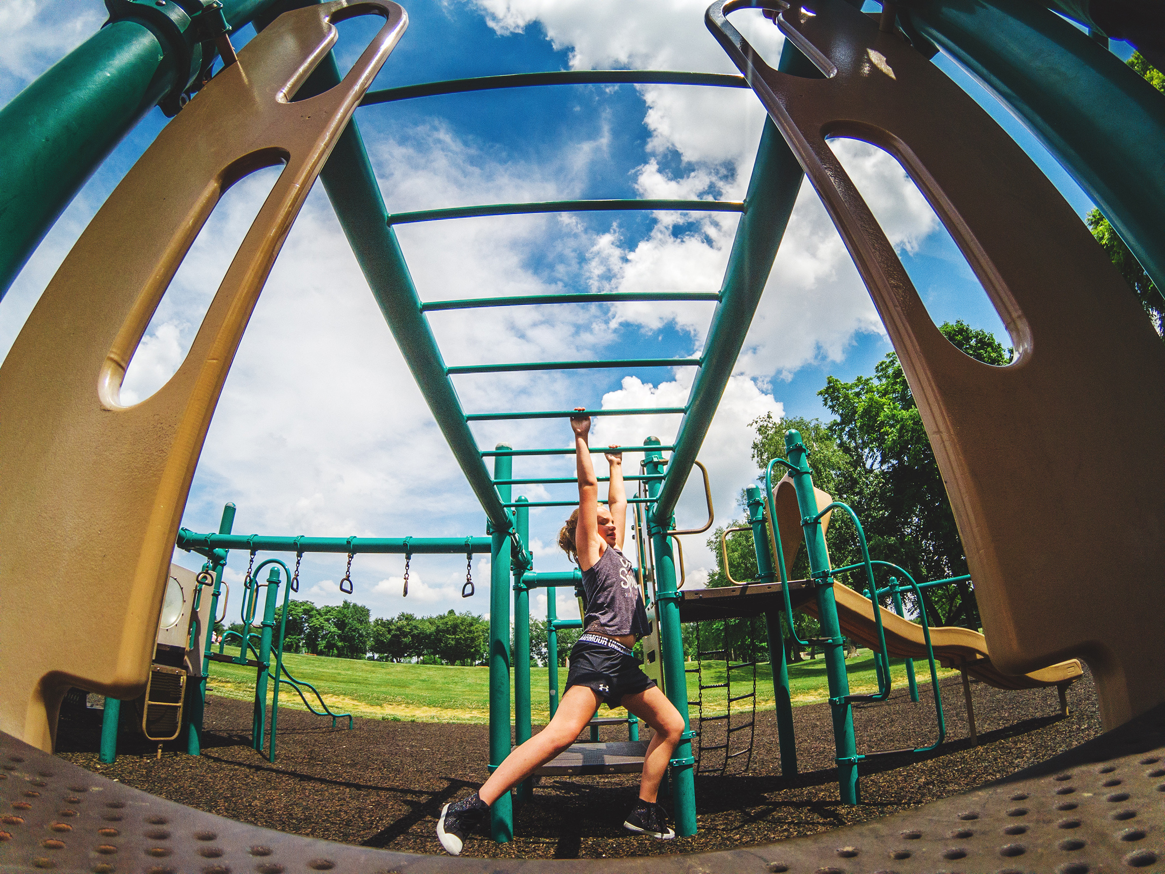 go pro, lifestyle kid, children, monkey bars, summertime playing